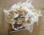 Hand spun art yarn, tail spun Wensleydale locks, = pure romance