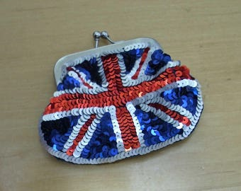 Free shipping! Sequined Union Jack British flag coin purse.