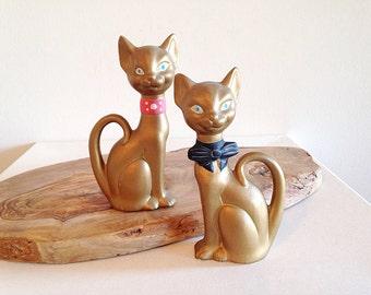 Mid Century Kitsch Decor Gold Siamese Cats Figurine Fancy Couple