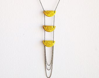 Tribal Yellow Half Moon Ladder Necklace Colorful Coconut Collection