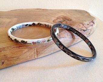Vintage Cloisonne Bangle Bracelets Set of Two Black and White