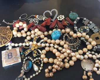 Assorted Lot of Costume Jewelry Pieces. Great for making Upscale Jewelry. FREE SHIPPING!