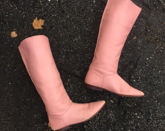 1970s soft pink leather riding boots sz 7