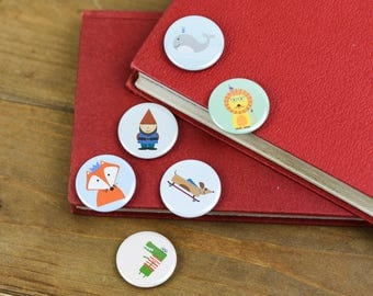 Birthday Fox Whale Gnome Hipster Lion Crocodile Super Clever Sausage Dog Characters Pin Badge Button Party bag filler