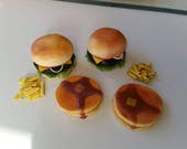 RESERVED LISTING - Pancakes, Hamburger/Cheeseburger and Fries - Clay Doll Food
