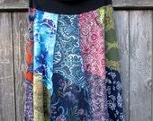 Boho Maxi Skirt - Gypsy Clothing - Hippie Girl - Festival - Free Spirit - Bohemian - Plus - Patchwork - Paisley Floral Cotton - Colorful
