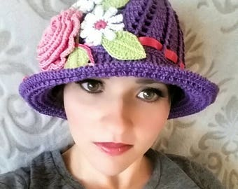 Crochet Cotton Cloche Sun Panama Hat Purple Baby Bonnet Hat with Rose, Daisies, Ribbon, And Pearls
