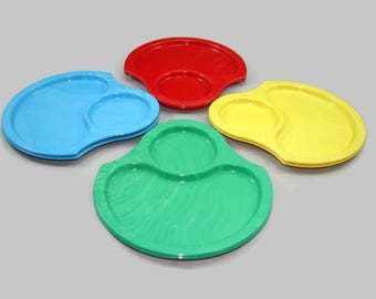 8 Nu-Dell Snack Plates, Vintage Swirled Plastic Picnic Plates, Hor D'oeuvre Trays