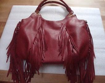 Large Maroon Pebbled Faux Leather 60's Style Fringed Purse / Handbag