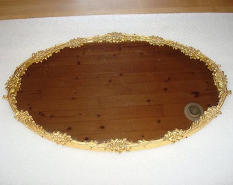 Vintage / Antique Victorian Scroll And Roses Gold Plated Cast Metal Oval Wall Mirror