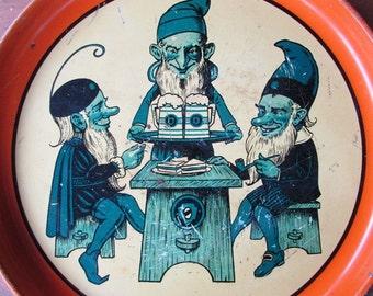 German Painted Tray Vintage Gnomes Goblins Elves Orange Tavern Beer Tray