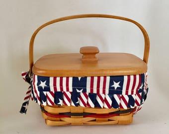 Longaberger Basket  / Vintage Patriotic Basket Longaberger w/Lid, Fabric Liner and Divided Plastic Insert 1997 Very good conditon-Retired