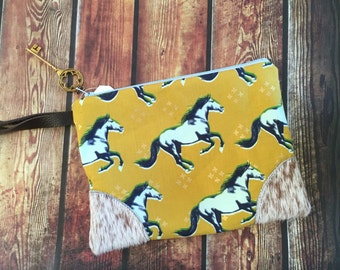 Made to Order Mustangs & Hairy Hide Leather Corners Wristlet