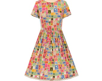 Vintage Postal Stamp Collection Handmade 1950's Style Francis Short Sleeve Dress