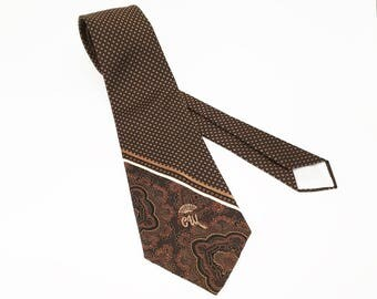 1970s COUNTESS MARA Tie Mens Vintage 70s Brown Necktie by Countess Mara, New York for Jack Henry Kansas City