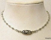 Silver Choker, Crystal Choker, Crystal Jewelry, Silver Flower Choker, Choker Necklace, Handmade Necklace, Valentines Day, Gift for Her