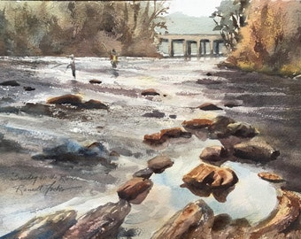 Fly Fishing on River Original Watercolor, Sunlit trees, water reflections, Small Landscape Painting, Chattahoochee River Atlanta Palisades