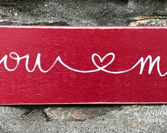"""Handpainted Wooden Sign * You and Me * 3.5"""" by 12"""", Handpainted You and Me sign, Handpainted Heart Sign, Personalized Name Sign"""
