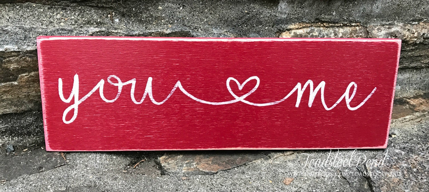 Handpainted wooden sign calligraphy sign you and me Calligraphy and sign