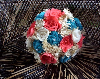 Coral pink and aqua bouquet | Rustic bouquet | Beach bouquet | Sola flower bouquet | Rustic wedding | Beach wedding | Keepsake bouquet