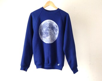 90s grunge full MOON blue long sleeve sweatshirt