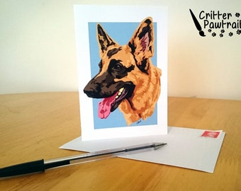 Critter Pawtraits German Shepherd Greetings Card Dog Breed Pet Thank You Occasion Birthday Pet GSD Alsatian