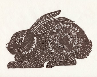Wild Cotton Tail Rabbit- Linocut Block Print- Hand Printed