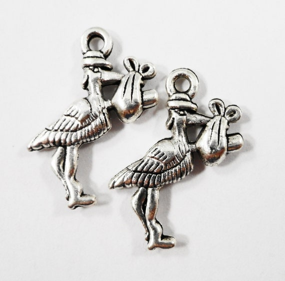 Silver Stork Charms 23x16mm Antique Silver Stork Pendant, Stork with Baby Charms, Bird Charms, Metal Charms, Baby Shower Charms, 10pcs