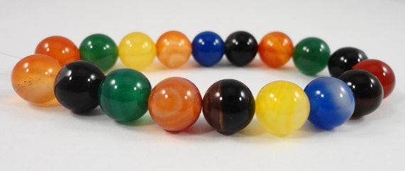 Agate Gemstone Beads 10mm Round Agate Beads, Dyed Multi Color Agate Stone Beads for Jewelry Making on a 7 Inch Strand with 18 Beads