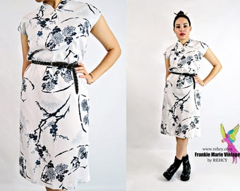 VTG 60s, Vintage, 1960s, Teal floral print, White, Midi length, Cheongsam, Chinese Dress Made in Hawaii by Polynesian Casuals - Size Medium