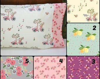 Organic Toddler Pillowcase, Organic Travel Pillowcase, Bloom, Kitties, Bicycles, Floral Pillowcase, Pillow Case