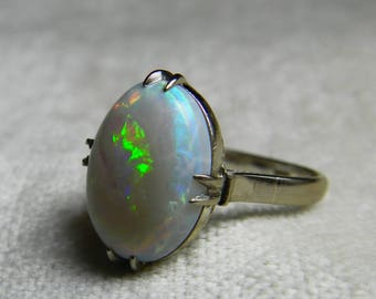 Opal Ring 14K White Gold 1930s Opal Engagement Ring Unique Engagement Ring October Birthday Fiery Australian Opal Rings Gift for Her