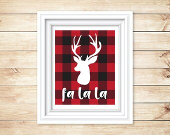 8 x 10 Cozy Red Buffalo Plaid Instant Download and Printable, Reindeer, Flannel, Christmas, Holiday Printable