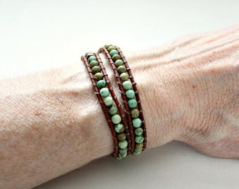 Mothers Day Gift,For Her,From Husband,From Daughter,Green Turquoise,Double Wrap,Bracelet,Leather,Om,30th Birthday,Gift For Sister,Choker