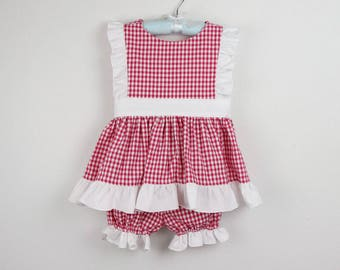 Girl Outfit - Hot pink gingham top  and bloomers with white ruffles and bow - Available in more colors