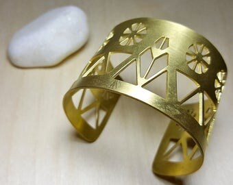 Greek Bangle, Gold Open Cuff, Elegant Geometric Jewelry, Gold Womens Bracelet, Modern Architectural Jewelry, Statement Bracelet, Dovecote