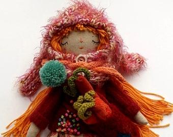 Bunny Girl Doll, Rag Doll, Handmade Rag Doll, Soft Doll, Cloth Art Doll, Heirloom Doll