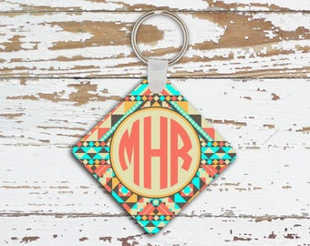 Personalized key chain, Aztec tribal light aqua coral, Monogram car accessory, New driver gift for her (1272)
