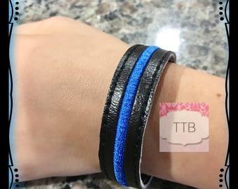 Thin Blue Line vinyl Bracelet