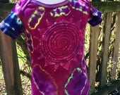 Tie Dye with Batik Abstract Sun One Piece for Baby, Berry and Multicolors Baby Suit, Batik and Tie Die Bodysuit, Unique Baby Gift // 18 mos