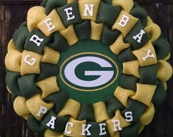 Green Bay Packers burlap wreath
