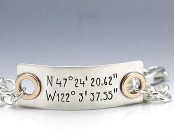 Hand Stamped Bracelet  Coordinates Bracelet Custom Bracelet Personalized Name Bracelet Mixed Metal Bracelet Hand Stamped Jewelry