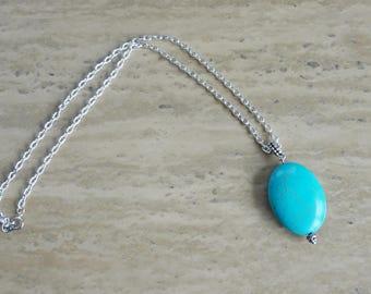 Turquoise Pendant Chain Necklace, Women's Necklace, Pendant Necklace