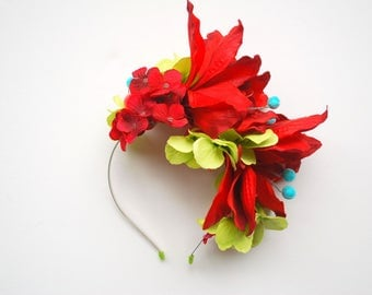 Red Green Blue Flowers Bridal Headband, Beach Hawaiian Weddings Hair Accessories, Hydrangea, Frida Kahlo Headband, Carmen Miranda Themed