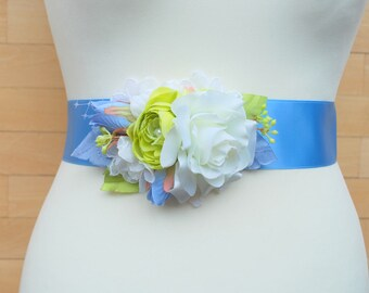 Serenity Blue Green White Rose Bridal Hair Comb or Sash, Bridal Flower Comb, Spring Weddings Accessories, Blue Green Bridal Sash Belt, Prom
