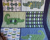Alligator Baby Quilt in Navy and Green, Little Man Quilt with Bow Ties, Argyle and Plaid, Navy Blue and Green Stroller Quilt