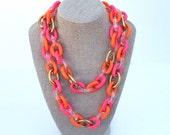 Pink & Orange Link Necklace ~ Vintage Plastic Link Choker ~ Belt w/ Clear and Neon Colors