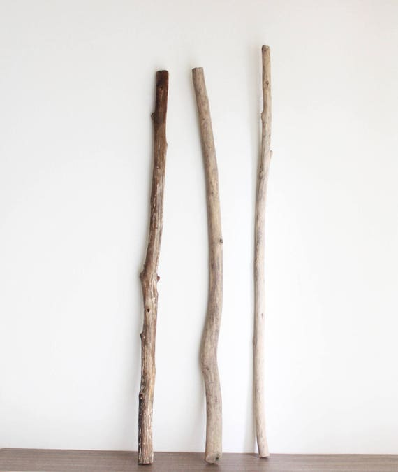 3 Long Driftwood Branches -- Quality Straight Drift Wood For Macrame, Curtains, Clothes Racks, Wall Hanging Wovens