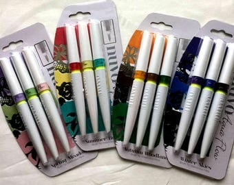 Nuvo Aqua Flow Brush Tip Watercolor Pens - Set of 4 packages - Total of 12 pens - Tonic Studios UK - Mothers Day Special - FREE SHIPPING