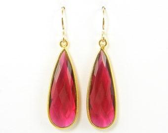 Ruby Gemstone Earrings, Ruby Quartz Long Dangle Earrings, July Birthstone Earrings, Long Ruby Drop Earrings |DRW2
